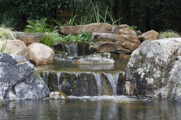 stone garden pond with waterfall and foliage