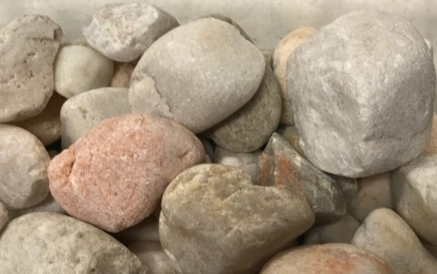 close-up of large white river rock stones at stone garden