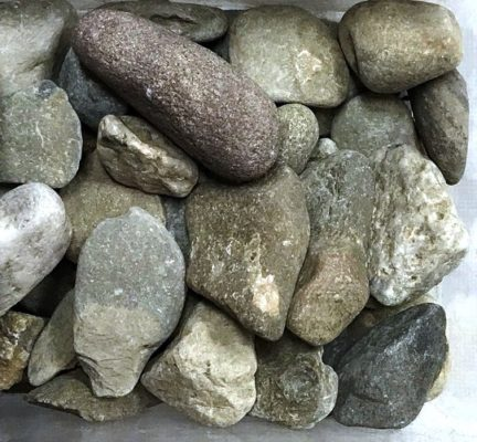 close-up of river jax rocks at stone garden