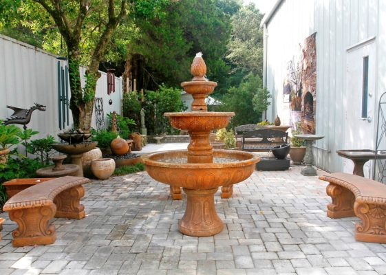 stone fountain, stone pavers patio, stone bench, garden art, wind-chimes, and statuary at stone garden display
