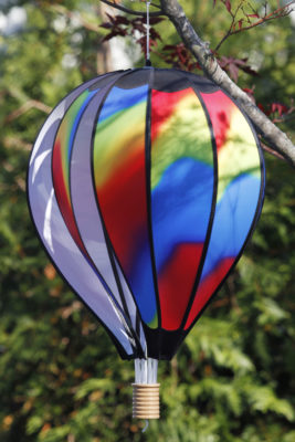 colorful wind-sock balloon gift at stone garden