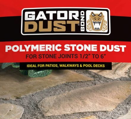 bag of polymeric stone dust for stone joints in masonry, a stone garden supply