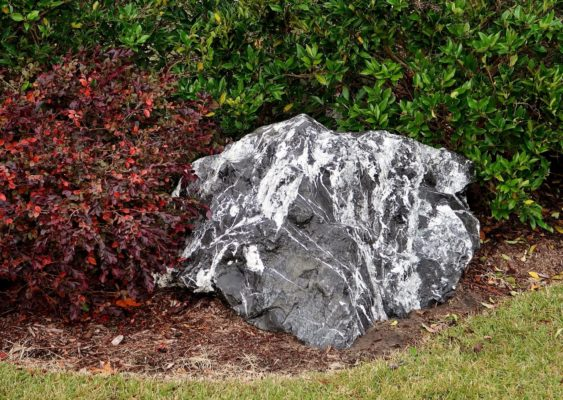 black and gray zebra stone boulder in a garden