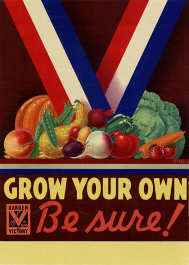 victory garden logo with fruits and vegetables