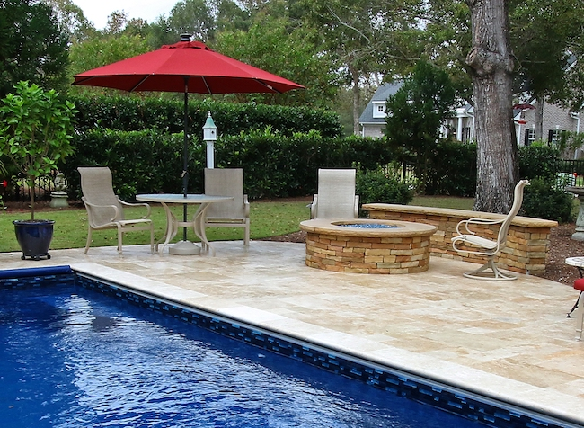 Travertine Tile Pool Surround Stone Firepit and Seating Wall