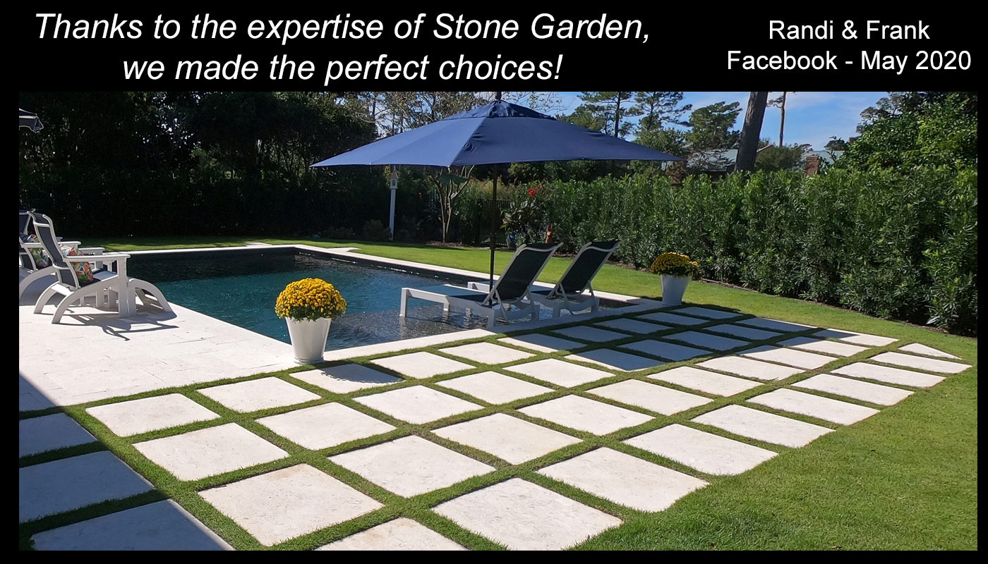 stone travertine tile pool surround stepping stones backyard