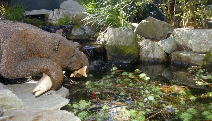 Bear Fish Garden Art Sculpture Stone Pond Garden Koi